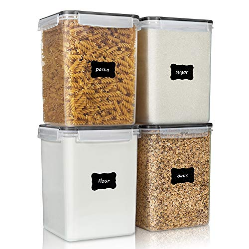 Large Food Storage Containers 5.2L / 176oz, Vtopmart 4 Pieces BPA Free Plastic Airtight Food Storage Containers for Flour, Sugar, Baking Supplies, with 4 Measuring Cups and 24 Labels, Black