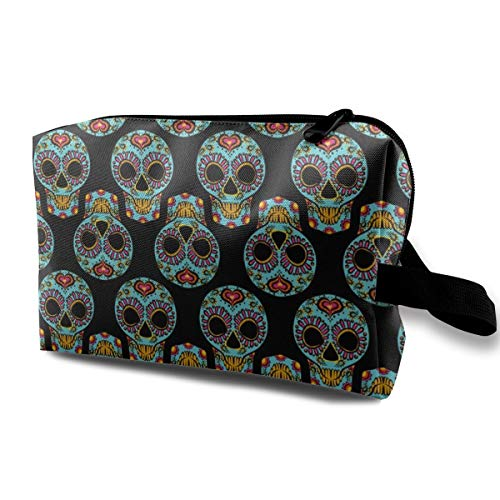 Kit Deluxe Kiwi Party - Calavera Sugar Skull_8579 Pencil Pen Case Artist Storage Bag Adjustable Dividers Women Girls Dark Blue