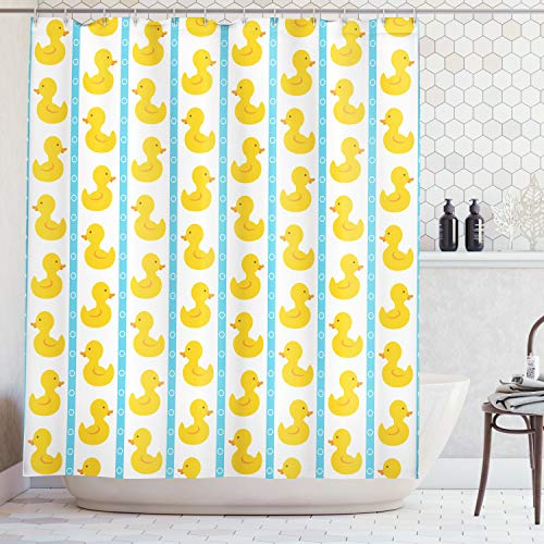 (Ambesonne Rubber Duck Shower Curtain Set, Yellow Duckies with Blue Stripes and Small Circles Baby Nursery Play Toys Pattern, Fabric Bathroom Set with Hooks, 69W X 70L Inches, Yellow Blue)