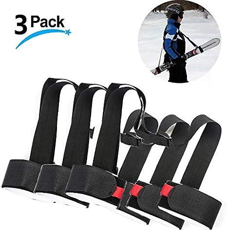 Racchette da Sci e Scarponi da Sci 2 Pack Ski Tracolla Regolabile Poliestere Ski Tracolla per Snowboard Sci