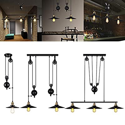 Boshen Industrial Pulley Antique Retro Iron Lamp Edison Adjustable Vintage Hanging Ceiling Light Pendant American Country Style Retractable Lamp