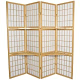 Oriental Furniture 5 1/2 ft. Tall Window Pane with Shelf Room Divider - Natural - 4 Panels