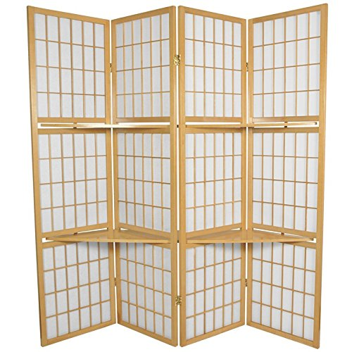 (Oriental Furniture 5 1/2 ft. Tall Window Pane with Shelf Room Divider - Natural - 4 Panels)