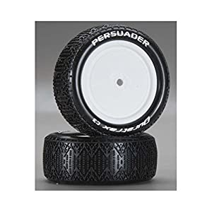 DuraTrax Persuader 1:10 Scale RC 4WD Buggy Tires with Foam Inserts, C3 Super Soft Compound, Mounted on Front White Wheels, Fits Kyosho buggies (Set of 2)