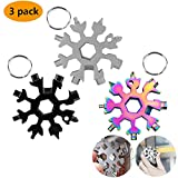 18-in-1 Snowflake Multi-Tool Stainless Steel Snowflake Keychain Tool,Snowflake Screwdriver Tactical Tool for Opener Key chain/Bottle Opener/Outdoor EDC Tools/Christmas Gift