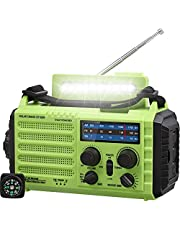 5000mAh Weather Radio, Emergency Solar Hand Crank Portable Radio, 5-Way Powered AM/FM/SW/NOAA Weather Alert Radio, Survival Radio for Household & Outdoor, Rechargeable Battery Cellphone USB Charger, LED Camping Flashlight/Reading Lamp, Headphone Jack,SOS,Compass