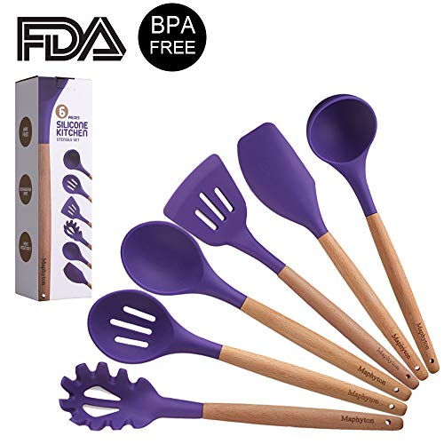 Silicone Cooking Utensils, 6 Pieces Nonstick Heat Resistant Kitchen Tool Set BPA Free with Natural Wood Handle by Maphyton