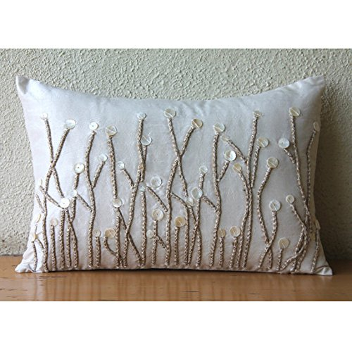 Luxury Ivory Lumbar Pillow Cover, Jute and Mother Of Pearls Farm Design Pillows Cover, 12″ ...