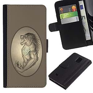 Billetera de Cuero Caso Titular de la tarjeta Carcasa Funda para Samsung Galaxy Note 4 SM-N910 / Ancient Werewolf Portrait Monster Lycan / STRONG