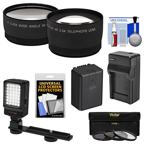 Essentials Bundle for Panasonic V770, VX870, VX981, WX970, WXF991 Camcorder with Telephoto & Wide-Angle Lenses + 3 Filters + Battery & Charger + LED Light Kit
