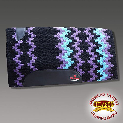 HILASON Show New Zealand Wool Saddle Blanket Western Rodeo Black