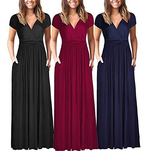 Respctful✿Women Summer Dress Short Sleeve Striped Chiffon Maxi Dresses Sexy V Neck Evening Cocktail Party Long Dress Black by Respctful Women's Clothing (Image #5)