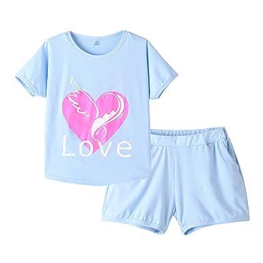 dbd42651b MyFav Pajama Set Big Girls Comfy PJS Lovely Heart Shape Printed Sleepwear  Nighty Blue