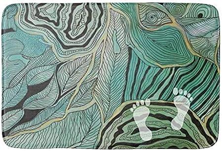 Alfombra de baño Yang (75 x 45 cm), extra suave y absorbente, lavable a máquina/seca, alfombrillas para tina,hojas de garabatos negras sobre alfombrilla de baño verde azulado y dorado