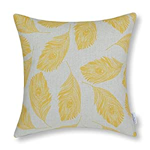 B Lyster shop Peafowl Peacock Feathers Yellow Color J118 Cotton & Polyester Soft Zippered Cushion Throw Case Pillow Case Cover