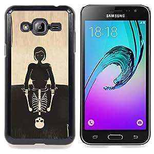 Ihec Tech Cráneo de la muchacha Reflexión Significado Profundo / Funda Case back Cover guard / for Samsung Galaxy J3 GSM-J300