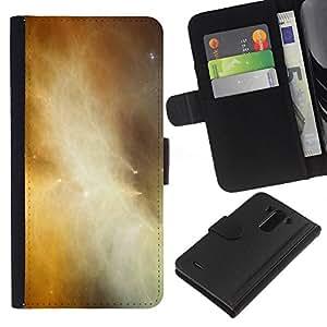 KLONGSHOP // Tirón de la caja Cartera de cuero con ranuras para tarjetas - Universo de gas de la nube Galaxy amarillas Estrellas - LG G3 //