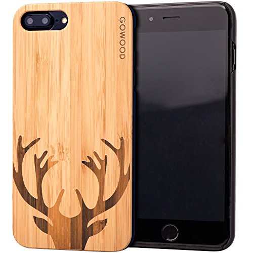 iPhone 7 Plus and 8 Plus Wood Case | Real Natural Bamboo Deer Design Engraved on Backside and Durable Hard Polycarbonate Shockproof Bumper with Shock Absorbing Rubber Coating