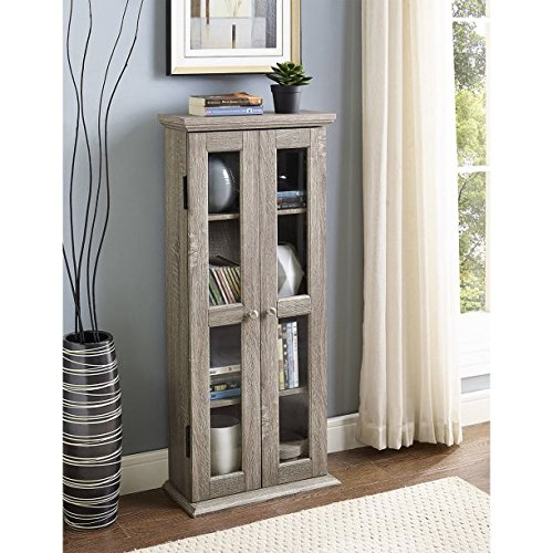 41'' Wood Media Cabinet, Driftwood, Stylish, Sturdy Design, Rich Textured Finish, High-Grade MDF With Durable Laminate, Holds Approximately 100 DVDs, Adjustable Shelving, Double Doors With Glass Panes by GAShop