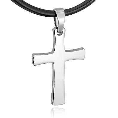 MunkiMix Acero Inoxidable Cuero Colgante Collar El Tono De Plata Cruzar Cruz Ajustable Hombre,Cable 50cm