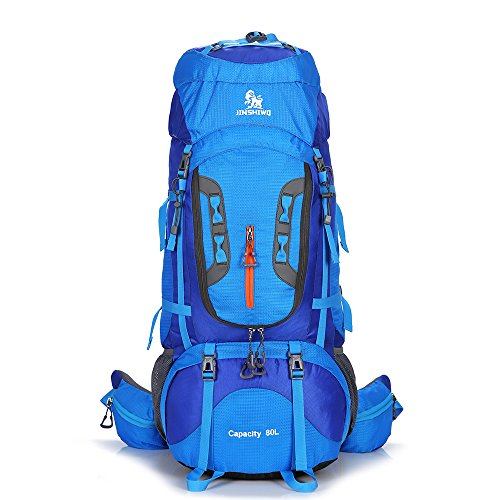 Gohyo 80 Liters Internal Frame Backpack Outdoor Mountaineering Bag Waterproof Backpack Climbing Fishing Rucksack Hiking Daypack Camping Outdoor Trekking Bag with a Rain Cover Blue