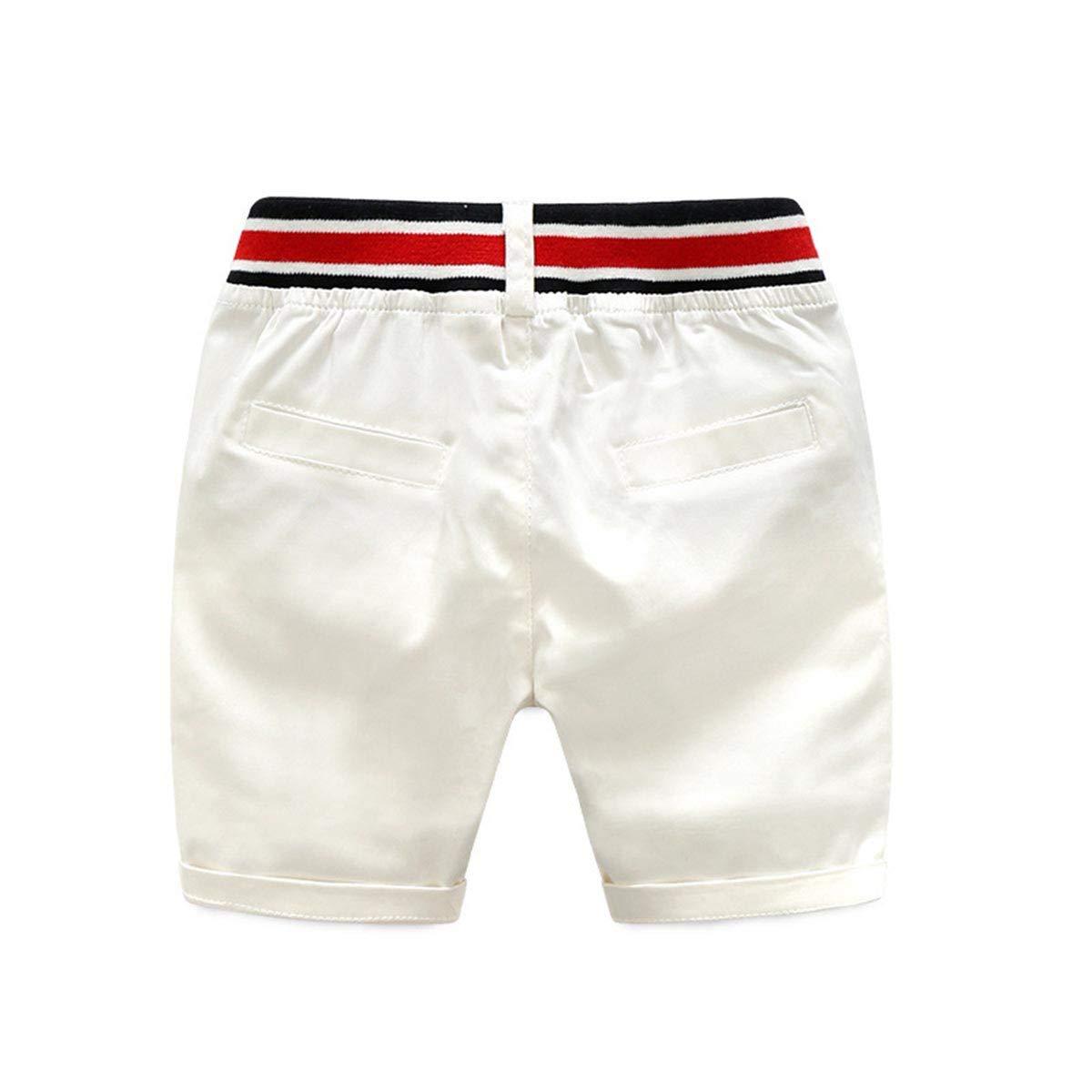 FCQNY Kid Boy 2pcs Short Sleeve Button-Down Striped Shirts Tops+White Shorts Sets