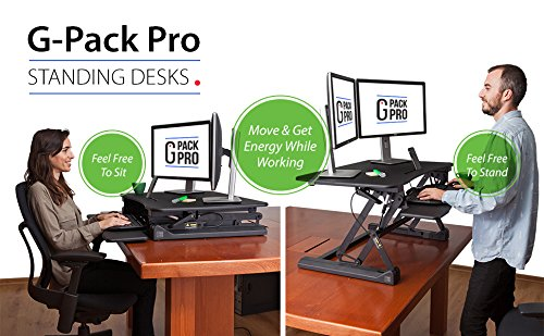 "G-PACK PRO -Desktop Standing Desk Converter - Ergonomic Desk Converter Riser Stand for Sit-To-Stand Work - Adjustable 35"" Standing Desk Monitor Riser - Fits Dual Monitor - Removable Keyboard Tray by G-Pack Pro (Image #8)"