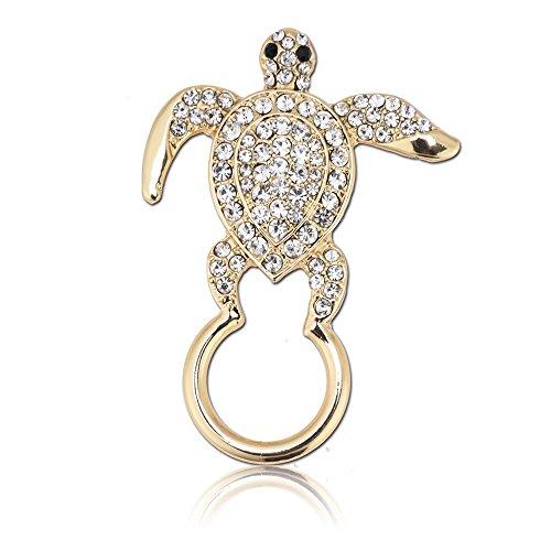 SJ SHI JUN Delicate Crystal Brooch Pins Turtle Rhinestone Eyeglass Holder Animal Jewelry (gold) - Rhinestone Turtle Pin