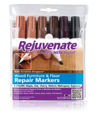 Rejuvenate Wood Furniture & Floor Repair Markers Make Scratches Disappear in Any Color Wood - 6 Colors; Maple, Oak, Cherry, Walnut, Mahogany, Espresso