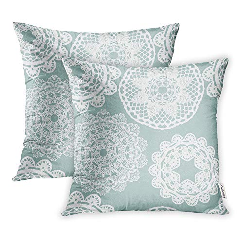 Emvency Set of 2 Throw Pillow Covers Print Polyester Zippered Blue Doily Lace White Mesh Pattern Crochet Retro Pillowcase 20x20 Square Decor for Home Bed Couch Sofa