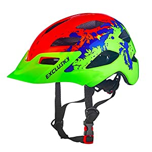 Exclusky Kids Helmets for Bike/Skate/Multi-Sport Lightweight Adjustable 50-57cm(Ages 5-13) (Rainbow)