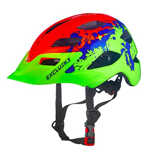 Exclusky Kids Helmets for Bike/Skate/Multi-Sport Lightweight Adjustable 50-57cm(Ages 5-13)