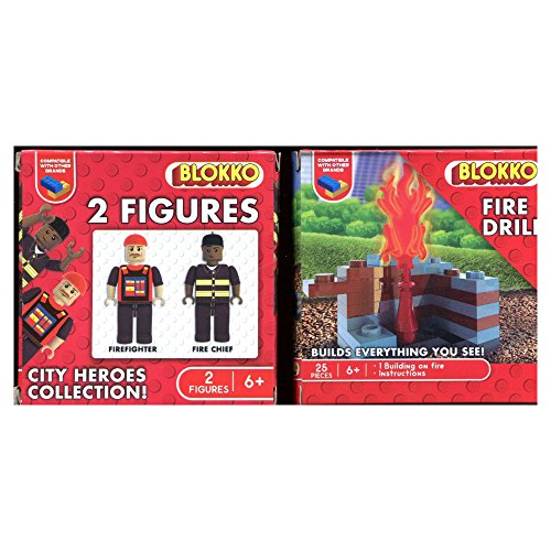 BLOKKO (TM) Construction Block Kit - Bricks Are Compatible With the Leading Brand – Stocking Stuffer - 2 Figures and Fire Drill Building - City Heroes Bundle