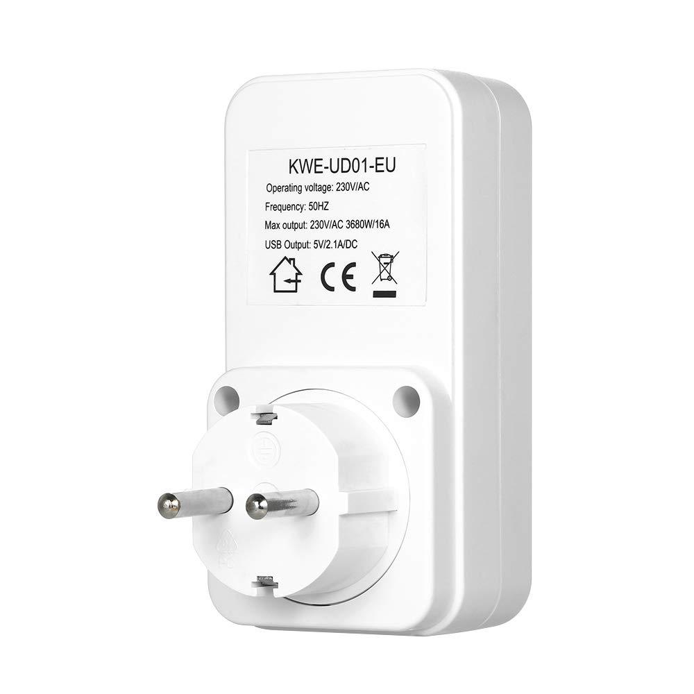 Ench Fesjoy Cuenta Atr/ás del Temporizador Enchufe para Temporizador de Cuenta Regresiva con 2 Puertos USB Interruptor de Controlador de Tiempo de Enchufe de Salida de 5V 2.1A para Electrodom/ésticos