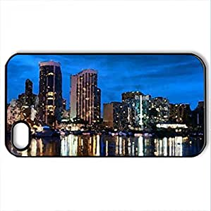 Waikiki - Case Cover for iPhone 4 and 4s (Skyscrapers Series, Watercolor style, Black)