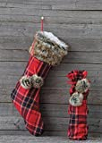 Fabric Plaid Wine Bottle Bag W/ Faux Fur Ball Accent Country Christmas Holiday D