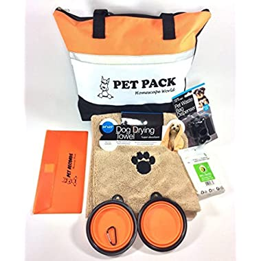 Homescape World 6-Piece Complete Pet Travel Pack and Accessories (Orange & White)