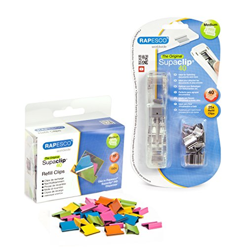 Rapesco Supaclip 40 Kit with Dispenser, 25 Stainless Steel Clips and 150 Multi-Colored Refill Clips (1299)