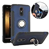 #9: TechVibe LG Aristo Case, Slim Drop Protection Cover, Ring Grip Holder Stand, Back Magnetic Circle With Air Vent Magnetic Car Vent Mount For LG Phoenix 3 / LG K8 2017 / LG Risio 2 - Metallic Blue