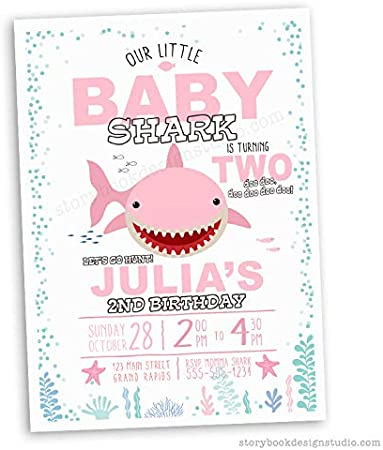 BS1 Personalised Baby Shark Birthday Party Invites including envelopes