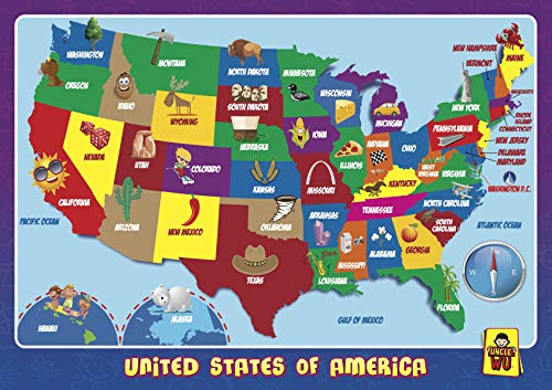 UNCLEWU United State Map Learning Placemats -Educational Kids Placemats