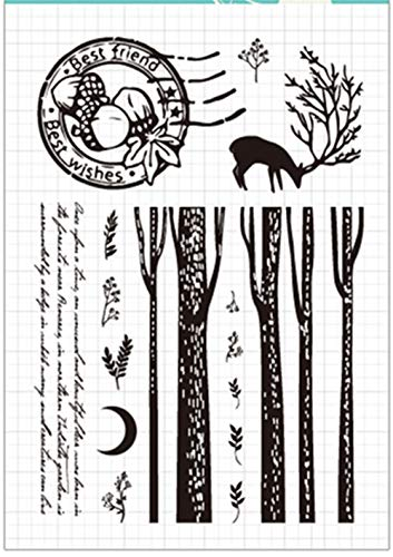 Christmas Tree Leaves Deer Moon Sentiments Postal Stamp Rubber Clear Stamp/Seal Scrapbook/Photo Album Decorative Card Making Clear Stamps ()