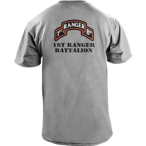 - USAMM Army 1st Ranger Battalion Full Color Veteran T-Shirt (2XL, Heather Grey)