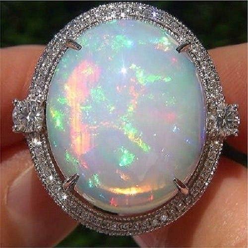Fashion Women 925 Silver Ring White Fire Opal Moon Stone Wedding Jewelry Gift