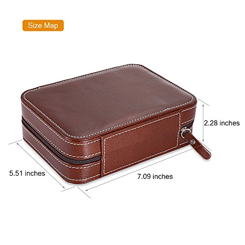 EleLight 4 Grids Watch Storage Display Box, Portable Travel Leather Watch Collector Storage Case for Men & Women as A Gift (Brown) by EleLight (Image #3)