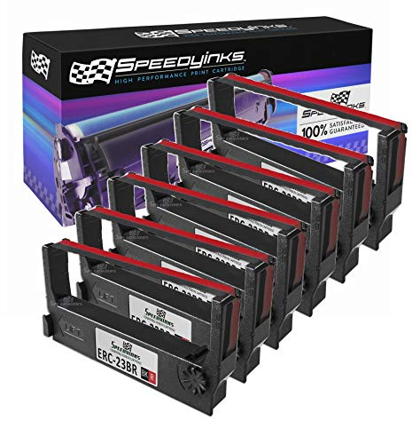 Speedy Inks Compatible POS Ribbon Cartridge Replacement for Epson ERC-23BR (Black and Red, 6-Pack)