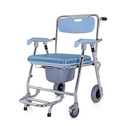 LIULIFE Sillas con Inodoro Aleación De Aluminio Plegable Cómoda Old Man Mobile Toilet Silla De Baño Rueda Baño Ducha Silla De Ruedas,Blue: Amazon.es: Hogar
