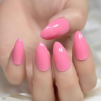 Amazon Coolnail Hot Pink Sharp End Almond Nail Art Jelly Pink