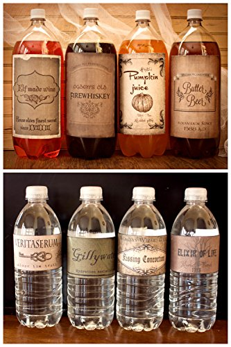 Harry Potter Vintage inspired (4) 2 litter drink & (8) Water bottle Labels Birthday Party Halloween decor decoration BONUS FREE 12 HARRY POTTER APOTHECARY POTION -