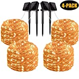 Solar String Lights, 4 Pack 100 LED Solar Fairy Lights 33 Feet 8 Modes Copper Wire Lights Waterproof Outdoor String Lights for Garden Patio Gate Yard Party Wedding Indoor Bedroom Warm White by LiyanQ